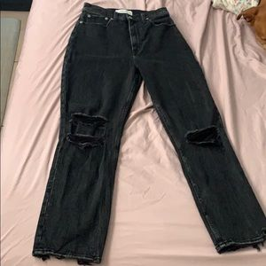 Ultra high rise ankle straight Abercrombie jeans